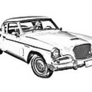 1961 Studebaker Hawk Coupe Illustration Poster