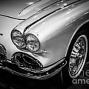 1962 Chevrolet Corvette Black And White Picture Poster