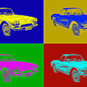 1962 Chevrolet Corvette Convertible Pop Art Poster