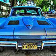 1963 Blue Corvette Stingray-front View Poster