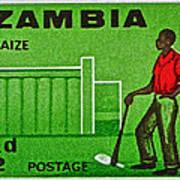1964 Zambia Farmer Stamp Poster