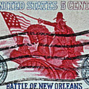 1965 Battle Of New Orleans Stamp Poster