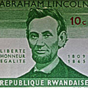 1965 Rwanda Abraham Lincoln Stamp Poster