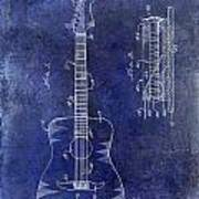 1966 Fender Acoustic Guitar Patent Drawing Blue Poster