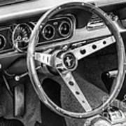 1966 Mustang Dashboard Bw Poster
