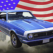 1968 Chevrolet Camaro 327 And United States Flag Poster