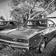 1968 Dodge Charger The Bullit Car Bw Poster