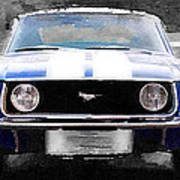 1968 Ford Mustang Front End Watercolor Poster