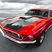 1969 Red 428 Mach 1 Cobra Jet Mustang Poster