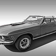 1970 Mach 1 Mustang 351 Cleveland In Black And White Poster