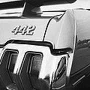 1970 Olds 442 Black And White Poster