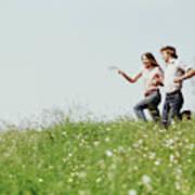 1970s Boy Girl Running Field Poster