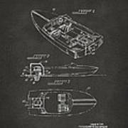 1972 Chris Craft Boat Patent Artwork - Gray Poster