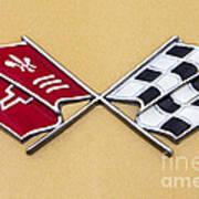 1972 Corvette Crossed Flags Poster