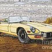1974 Jaguar Xke Illustration Poster