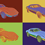 1975 Corvette Stingray Sportscar Pop Art Poster