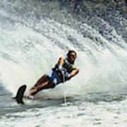 1980s Man Waterskiing Making Fan Poster