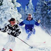 1990s Couple Skiing Vail Colorado Usa Poster