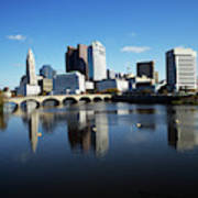 1990s Skyline Along The Scioto River Poster