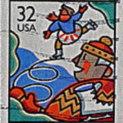 1996 Winter Skaters Stamp Poster