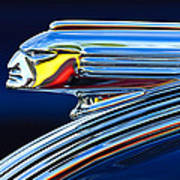 1939 Pontiac Silver Streak Chief Hood Ornament Poster by Jill Reger