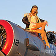 1940s Style Aviator Pin-up Girl Posing Poster
