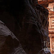 A Glimpse Of Al Khazneh From The Siq In Petra Jordan Poster