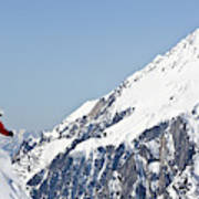 A Man Skis Untracked Powder Off-piste Poster