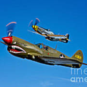 A P-40e Warhawk And A P-51d Mustang Poster