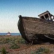 Abandoned Fishing Boat Digital Painting Poster