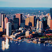 Aerial Morning View Of Boston Skyline Poster