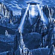 Alien Planet In Blue Poster by Mike McGlothlen