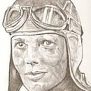 Amelia Earhart Drawing Poster