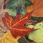 Autumn Leaves In Layers Poster
