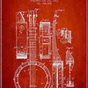Banjo Patent Drawing From 1882 - Red Poster