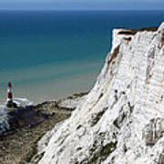 Beachy Head Cliffs And Lighthouse  Poster
