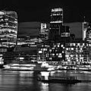 Beautiful Black And White Image Of London City At Night With Lov Poster