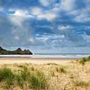 Beautiful Blue Sky Morning Landscape Over Sandy Three Cliffs Bay Poster by Matthew Gibson