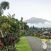 Besakih Temple And Mount Agung View In Bali Indonesia Poster