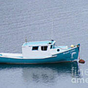 Blue Moored Boat Poster