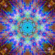 Blue Rainbow Star Mandala Poster