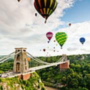 Bristol Balloon Fiesta Display Over Clifton Suspension Bridge Poster