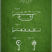 Bugle Call Instrument Patent Drawing From 1939 - Green Poster
