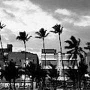 Buildings Lit Up At Dusk, Ocean Drive Poster