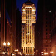 Buildings Lit Up At Night, Chicago Poster