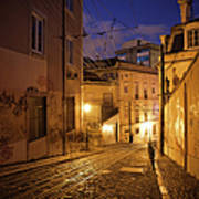 Calcada Da Gloria Street At Night In Lisbon Poster