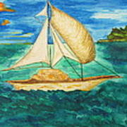 Camouflage Sailboat Poster by Debbie Nester