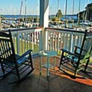 2 Chairs On The Fairhope Yacht Club Porch Poster
