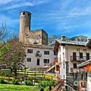 Chatelard Village With Castle Poster