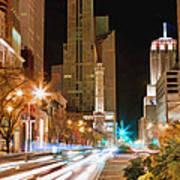 Chicago Michigan Avenue Light Streak Poster